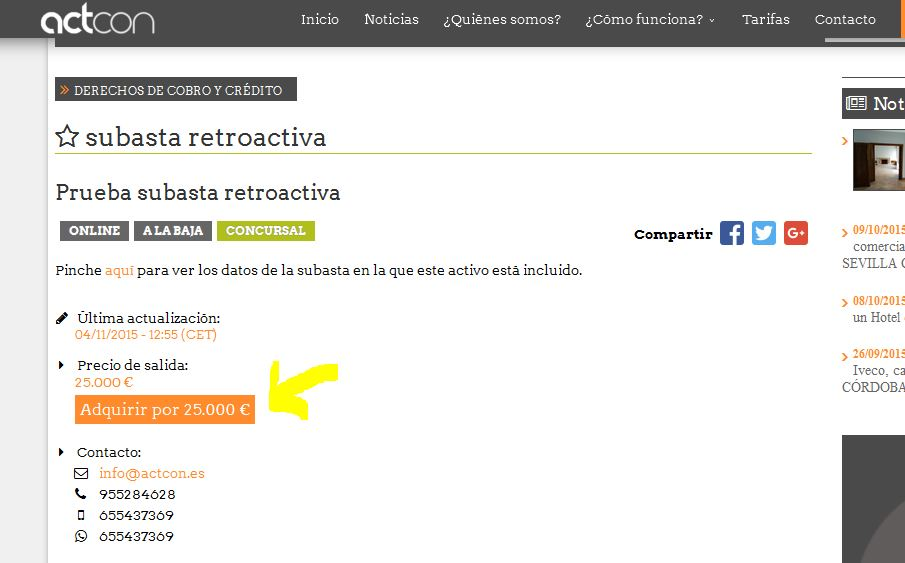 Captura subasta retroactiva